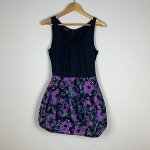Topshop black/purple abstract floral pattern dress